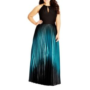 City Chic ombre halter neck maxi dress